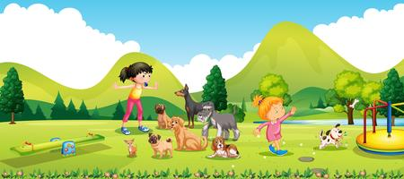 Chicas jóvenes entrenando a los perros