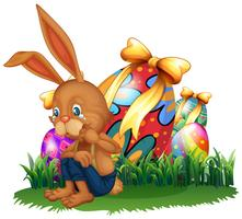 Brown bunny crying in garden