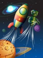 Cohete y robot volando en el espacio.