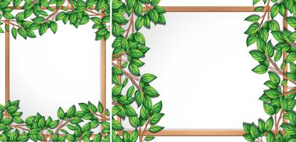 Wooden tree branch frame vector