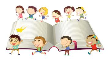Boys and girls running on book