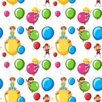 Seamless template kids on colorful balloons