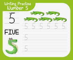 Number five tracing worksheets