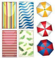 Set van strand parasols en handdoeken