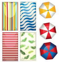 Set of beach umbrellas and towels