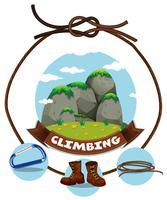 Kletterzeichen und Bergblick