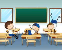 Three boys playing inside the classroom