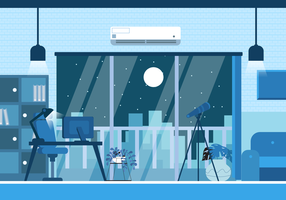 Modern Office Setup Bakgrund Vector Flat Illustration