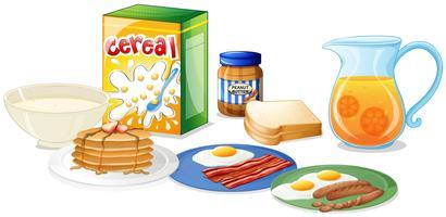 Muchos tipos de comida para el desayuno.