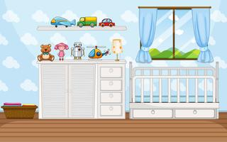 Slaapkamer scène met witte babycrip