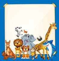 Border template with wild animals on blue background