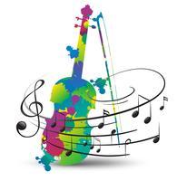 Violino colorido e notas musicais em branco