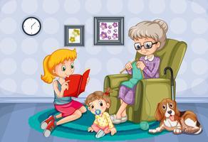 Grootmoeder en kinderen in de kamer