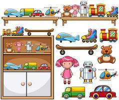 Brinquedos diferentes nas prateleiras de madeira