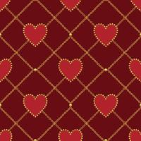 Heart shape and golden chain on dark red background. Seamless pattern. Vector illustration