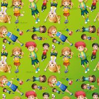 Seamless background design with kids on grass