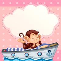 Aap slapen op de boot-sjabloon
