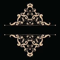 Divider or frame in calligraphic retro style isolated on black background.