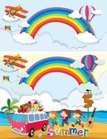 Kinderen op zomer vakantie sjabloon