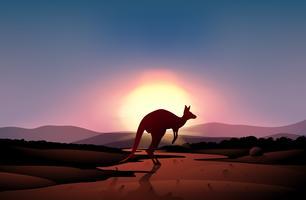 En solnedgång i öknen med en känguru