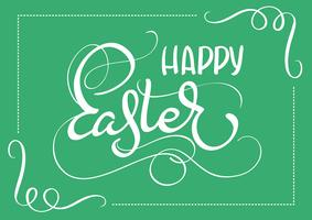 Happy Easter words on green background frame. Calligraphy lettering Vector illustration EPS10