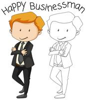 Doodle happy businessman character
