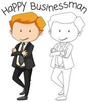 Doodle personnage heureux homme d'affaires