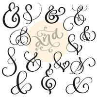 vector set Vintage sign And Ampersand on white background. Calligraphy lettering illustration EPS10