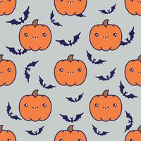Seamless halloween pattern with pumpkins on grey background with silhouettes of flittermouse.