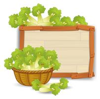 A basket of celery on wooden banner