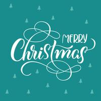 blue holiday background with text Merry Christmas. calligraphy and lettering. Vector illustration EPS10