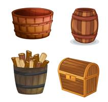 vários objetos de madeira
