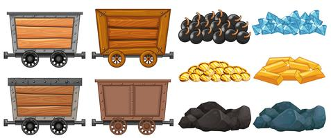 Different stone and mining carts