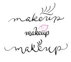 texto de vetor de maquiagem no fundo branco. Caligrafia, lettering, ilustração, EPS10