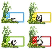 Etiquetas de Polkadot con panda y bambú.