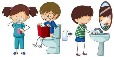 Children doing different routine in bathroom