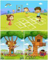 Tres escenas con niños jugando en el parque.