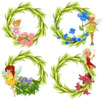 Template design wtih fairies and flowers