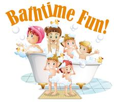 People taking a bath vector
