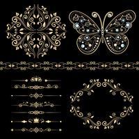 conjunto de borda floral, frame, divisores.