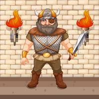 Wikinger Krieger hält Schwert