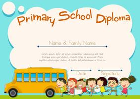 Primary school diploma with schoolbus and kids