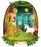 Princesa e unicórnio na torre