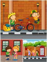 Crianças saindo no bairro