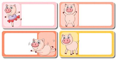 Label design with little pig