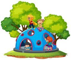 Crianças, tocando, em, escalada, cúpula