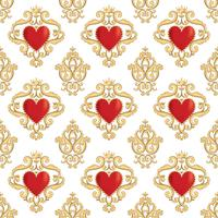 Seamless damask pattern with beautiful ornamental red hearts with crowns. Vector illustration