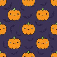 Seamless halloween pattern with pumpkins on dark violet background with silhouettes of flittermouse.