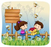 Jongen die bloemen geeft aan meisje