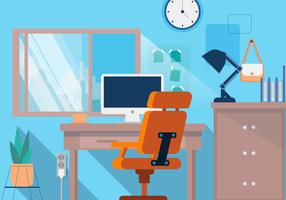 Office Desk Creative Designer Vector Flat Background